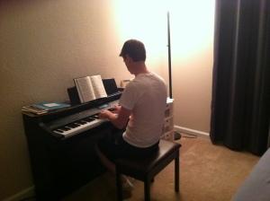 Pee-Tah serenading me from the Methodist Hymnal