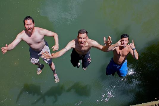 Cuzz, Brother Bear, & Brother Boo jumping backwards off the bridge